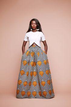 African Print Urbi Skirt | Grass-fields