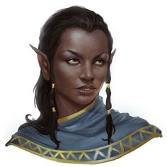 Female half-elf or elf, deep skin, dark hair, golden eyes, noble, diplomat