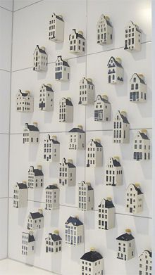 """These are small ceramic """"bottles"""" with liquor that were given to first class passengers on KLM flights. I have a couple of them. Clay Houses, Ceramic Houses, Miniature Houses, Paper Houses, Ceramic Clay, Deco Noel Nature, Cardboard City, Tin House, Dutch House"""