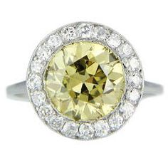 3.44 Carat Natural Yellow Diamond Cluster Ring