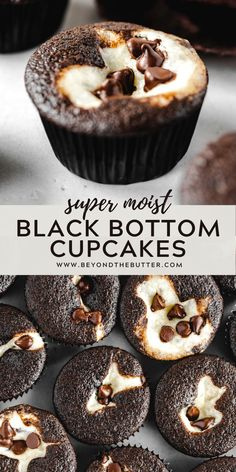 These Simple and Delicious Black Bottom Cupcakes are rich, chocolatey, super moist, and filled with the creamiest chocolate chip cream cheese filling ever! Easy Desserts, Delicious Desserts, Dessert Recipes, Yummy Food, Cupcake Filling Recipes, Recipes Dinner, Chocolate Cream Cheese Cupcakes, Cupcakes With Cream Cheese Filling, Chocolate Brownie Cupcake Recipe