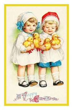 Vintage 2 Young Girls with Their Easter Chicks Counted Cross Stitch or Counted Needlepoint Pattern