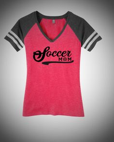 Soccer Mom  Ladies Game Day V-Neck Tee by CWSportsGraphicsCo