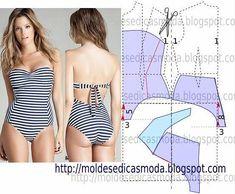 Moldes Moda por Medida: open back swim suit / bathing suit pattern Lingerie Patterns, Sewing Lingerie, Jolie Lingerie, Clothing Patterns, Dress Patterns, Sewing Patterns, Diy Clothing, Sewing Clothes, Sewing Hacks
