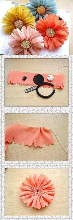 cloth flower making Ribbon Art, Ribbon Crafts, Flower Crafts, Felt Crafts, Diy And Crafts, Ribbon Projects, Diy Ribbon, Easy Crafts, Cloth Flowers