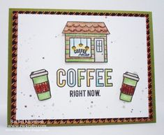 Coffee card - Sweet Stamp Shop coffee town, DCWV printed cork paper