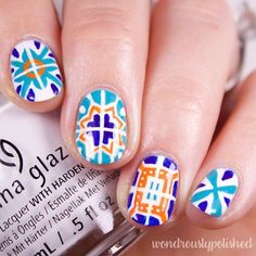 """419 Likes, 6 Comments - Lindsey (@wondrouslypolished) on Instagram: """"Hey friends! New nail art and video alert! I painted some Talavera style art (Mexican pottery/tile…"""""""