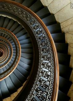 "secretsecretboudoir: "" archatlas: "" Circular Staircase in Bank Tower Pittsburgh Andrew I. Boyd [via] "" Spiral … "" Beautiful Architecture, Art And Architecture, Architecture Details, Staircase Architecture, Installation Architecture, Beautiful Buildings, Grand Staircase, Staircase Design, Black Staircase"