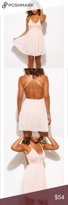 Blush Backless Mini Dress Gorgeously colored blush pink backless dress with Criss cross strap design. Flawless lace overlay. Perfect dress for any summer night! Dresses Mini