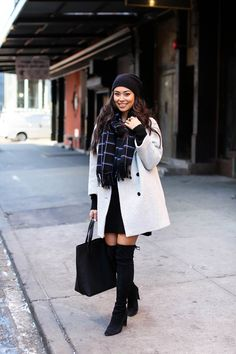 Beanie Weather - MiH coat // Joe Fresh dress Stuart Weitzmann boots // Scarf WLFK x GINY bag // Alexander Wang beanie Friday, February 5, 2016