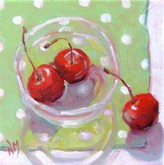 """Cherry Painting """"Polka Dot Cherries"""" - © Nora MacPhail #Cherries"""