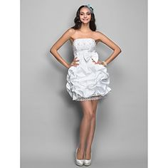 Cocktail Party/Homecoming/Holiday Dress A-line/Princess Strapless Short/Mini Lace/Taffeta Dress – USD $ 99.99