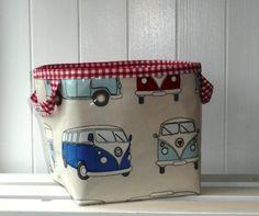 Camper Van Large Storage Basket Box by RubyGingham on Etsy, £12.90