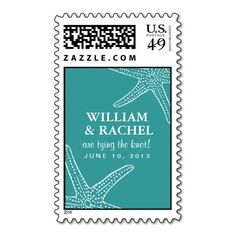Starfish postage stamps that can be customized for your special occasion. Check out the Origami Prints store for invitations and other products that match this design! #starfish #postage #stamp #beach #theme #wedding