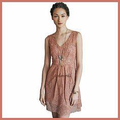 YOANA+BARASCHI+Pink+Dusty+Rose+Lace+AT+DUSK+Silk+Organza+Dress+ANTHROPOLOGIE+NWT
