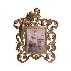 Antique  American Victorian Rococo Brass Ornate Picture Frame ~ Circa 1890's~ Original Condition