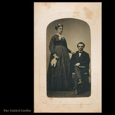 Rare Maternity Tintype, Civil War Era, dated 1865 with Potter's Patent on Original Star Embossed Sleeve. Via The Gilded Griffin at Ruby Lane.