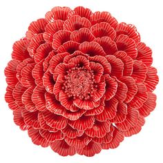 Bring garden-chic appeal to your home with this charming porcelain wall decor, featuring a floral silhouette and red finish.   Prod...