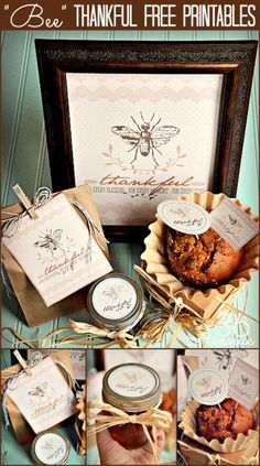 """Bee"" Thankful ....This would be such a wonderful and elegant Baby Shower Idea...I love it, plus the nutural coffee filters on the Sweet Treats and the simplicity is just beautiful. Free printables"