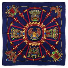 Hermes Scarabees Et Pectoraux, By Caty Latham Silk Scarf