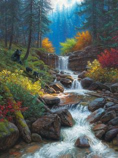 Mark Keathley Hand Signed and Numbered Limited Edition Embellished Canvas Giclee:Mountain Cascade Waterfall Drawing, Waterfall Paintings, Waterfall Scenery, Mountain Waterfall, River Tattoo, Autumn Forest, Mountain Paintings, Beautiful Landscapes, Beautiful Paintings Of Nature