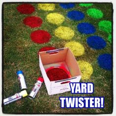 Homemade Outdoor Twister Game: (Also, I Would Use Marker Paint Instead Of The Reg. Spray Paint)...Click On Picture For Complete Instructions...