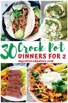30 Easy Crockpot Dinners for Two gives you great ideas for easy crockpot meals to have ready at the drop of a hat. That means dinner is ready easy-peasy! Crockpot Recipes For Two, Crockpot Dishes, Crock Pot Cooking, Crockpot Meals, Slow Cooker Recipes, Cooking Recipes, Batch Cooking, Fun Recipes, Steak Dinners For Two