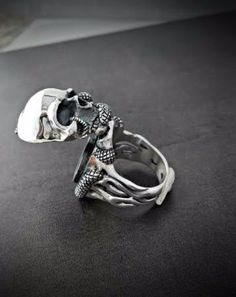 Pillbox Ring - Locket Ring - Skull and Snake Poison Ring - Biker Ring