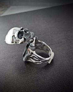 Pillbox Ring - Locket Ring - Skull and Snake Poison Ring - Biker Ring