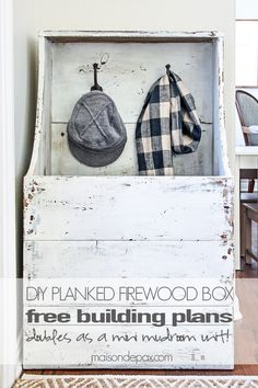 DIY Planked Firewood Box. Free step-by-step tutorial and building plans for antique and rustic entryway storage. This is perfect for holding boots, scarves, and hats during colder months.