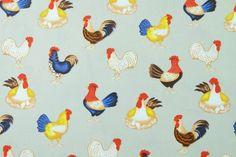 1/2 Yard Cotton Fabric, Light Gray Chicken Fabric , Case, Book Cover, Purse, Scrapbooking by PloyjaiFabric on Etsy