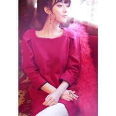 21.79$  Buy here - http://dijyp.justgood.pw/go.php?t=YM2939002 - Ladylike Scoop Neck 3/4 Sleeves Solid Color Puff Cuff Woolen Blend Women's Dress