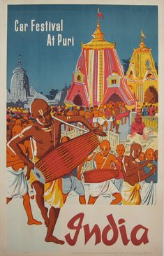 India Car Festival At Puri original vintage poster from 1939. Great travel destination advertisement.