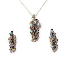 Aurora Borealis Crystal Cluster Jewelry Set by HeidisTreasureChest