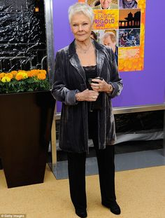 Dame Judi Dench April 2012 . cool! I dress like this quite often, so I guess I'd love her style! :)