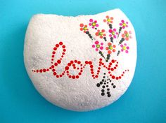Handpainted love and flowers rock