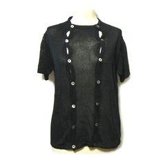 Y's (Yohji Yamamoto) 黒 変形2連半袖ニットカーディガン (black deformed two consecutive short sleeves cardigan)