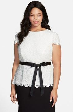 Alex Evenings Cap Sleeve Lace Blouse with Ribbon Belt (Plus Size) available at #Nordstrom