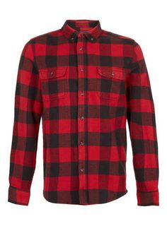Red Buffalo Check Long Sleeve Flannel Shirt - Men's Sweatpants  - Clothing