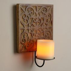 Natural Carved Wood Medallion Sconce | World Market