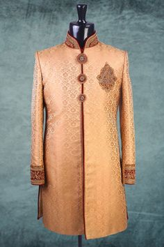 #Brown jamavar Indo-western #Sherwani in #maroon bottom -IW149