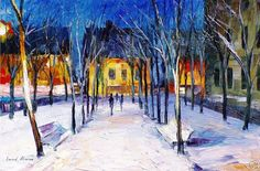 Clean Snow —  Oil Painting On Canvas By Leonid Afremov    #snow #winter #christmas