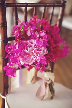 "Bougainvillea ""passion"" and Peonies ""happy marriage, happy life, good fortune"""