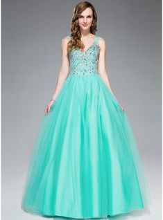 Ball-Gown V-neck Floor-Length Beading Sequins Zipper Up Regular Straps Sleeveless No Other Colors Other Colors Spring Summer Fall General Plus Tulle Prom Dress