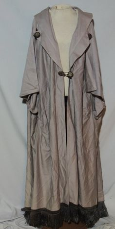 Edwardian Taupe Wool Cape w Metallic Gold Wrapped Buttons / Fringe