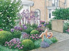 Vorgartengestaltung: 40 Ideen zum Nachmachen In this front garden romantic hues dominate. The house number as a stone sculpture in the bed is an extraordinary