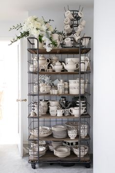 Emma Bridgewater Toast & Marmalade ( Black Toast ) Black and White Pottery with Words Shelf by Restoration Hardware circa 1900 baker's rack Bakers Rack, New Kitchen, French Country Decorating, White Pottery, House Interior, Dresser Inspiration, Kitchen Design, White Decor, Home Decor