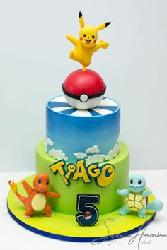 Planning a Pokemon theme party for your kid? This Pokemon theme birthday party will entice your kids no matter which age they are. Heres a list of cool ideas for your kinds pokemon theme party Pokemon Torte, Pokemon Go Cakes, Pikachu Cake, Pokemon Pokemon, Pokemon Tattoo, Pokemon Themed Party, Pokemon Birthday Cake, 7th Birthday, Character Cakes