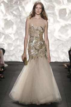 Gold sequins and tulle by Naeem Khan.