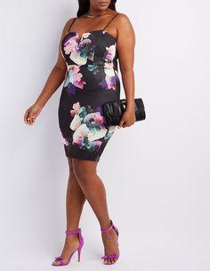 Plus Size Floral Notched Dress   Charlotte Russe